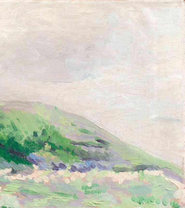 'Coastal Dunes, Cream and Lilac', Early Dutch Post-Impressionist oil Landscape For Sale 1