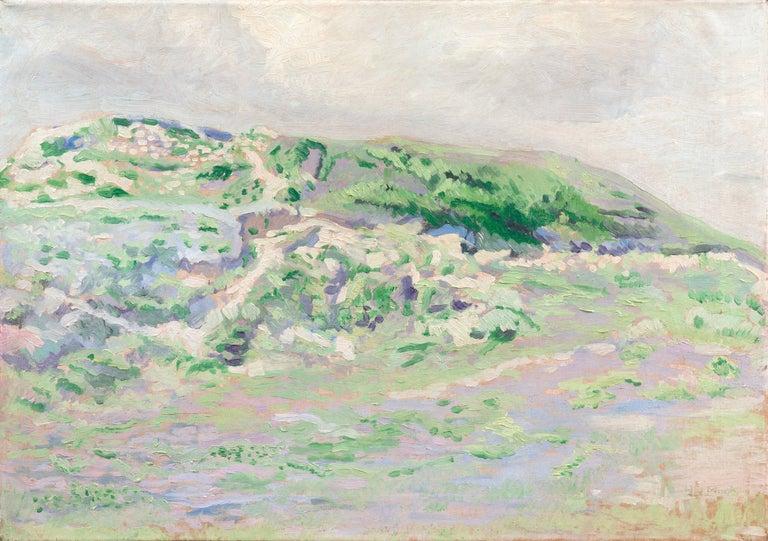 Hendrik Van Mook Landscape Painting - 'Coastal Dunes, Cream and Lilac', Early Dutch Post-Impressionist oil Landscape