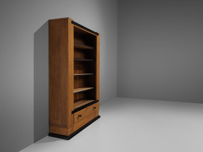Brass Hendrik Wouda for Pander Art Deco Bookshelf in Oak For Sale