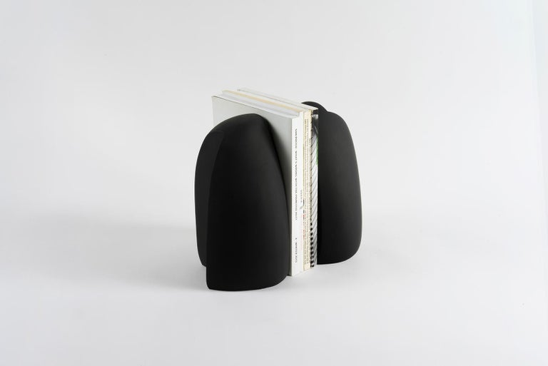 Henge Bookend, Set of 2 Black Concrete Pieces by UMÉ Studio For Sale 3