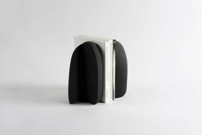 Contemporary Henge Bookend, Set of 2 Black Concrete Pieces by UMÉ Studio For Sale