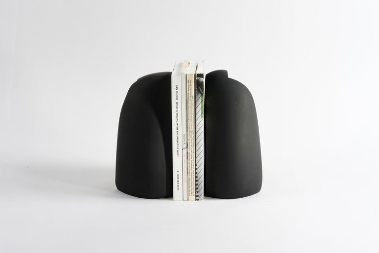 Cement Henge Bookend, Set of 2 Black Concrete Pieces by UMÉ Studio For Sale