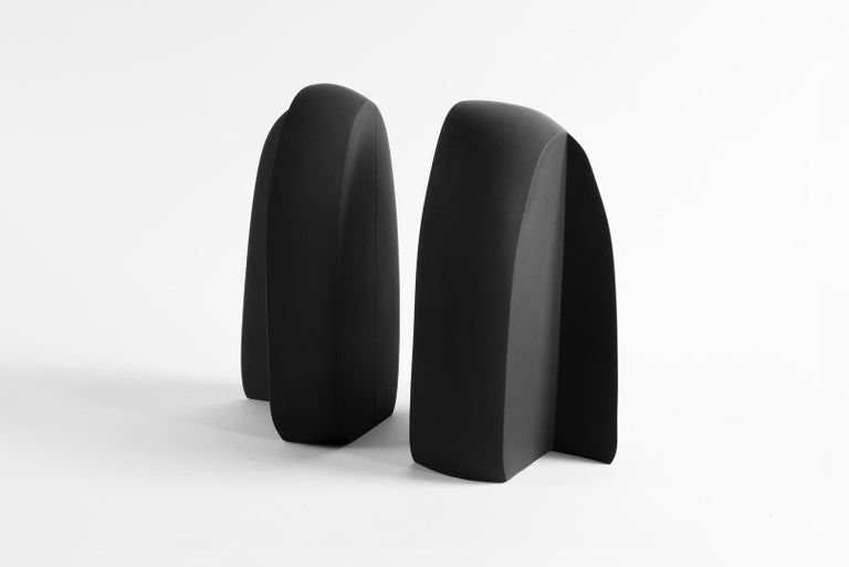 Henge Bookend, Set of 2 Black Concrete Pieces by UMÉ Studio For Sale 2