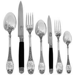Henin Rare French Sterling Silver Ebony Flatware Set 85 Pieces, Mascaron