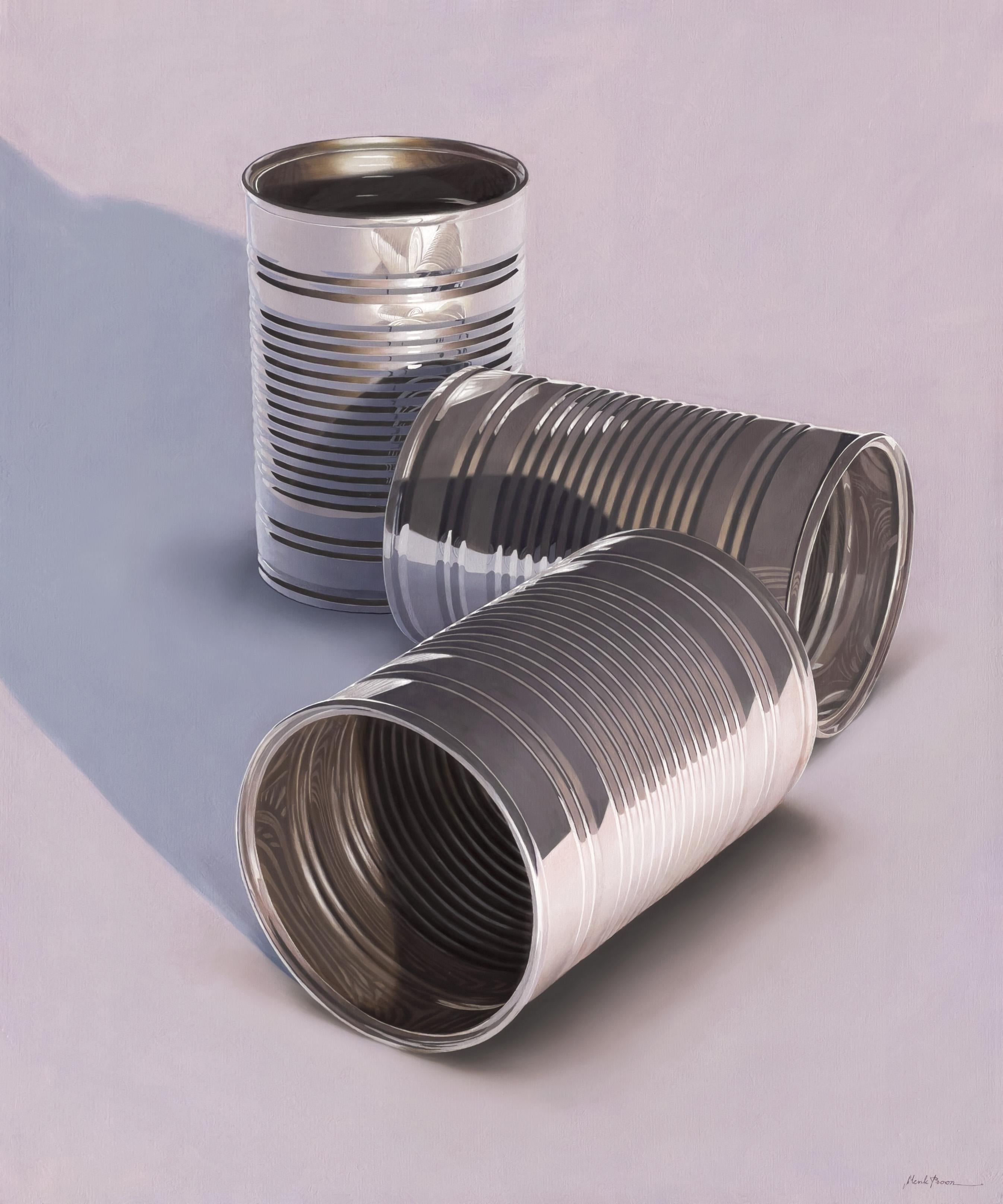 Composition with Three Cans- 21st Century Hyper Realistic Still-life Painting