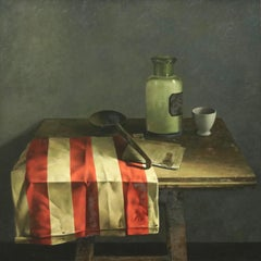 Still-Life with Red-White Canvas - 21st Century Contemporary Oil Painting