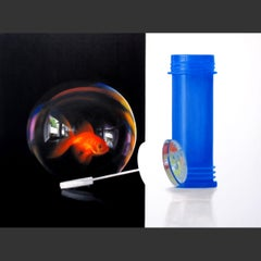 Life in a Bubble - original hyperrealism abstract painting wildlife 21st Century