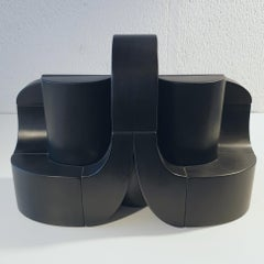 Fantasy & Fugue - black contemporary modern abstract geometric wood sculpture