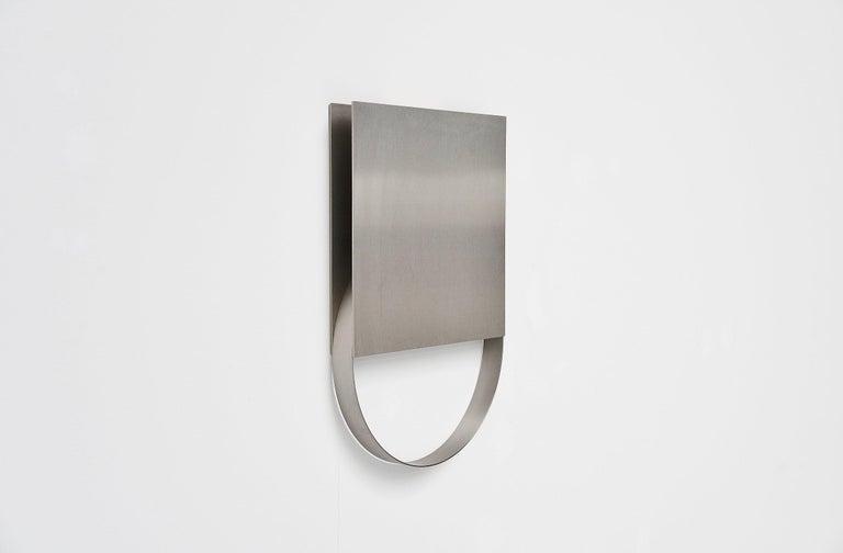 Mid-Century Modern Henk Van Putten Stainless Steel Wall Sculpture Holland, 1999 For Sale