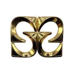 Henkel & Gross, Germany 1972 Modernist Gold Brooch
