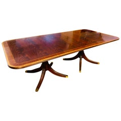 Henkel Harris Double Pedestal Flame Mahogany Dining Table Extra Large