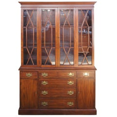 Henkel Harris Wild Black Cherry Chippendale Style China Display Cabinet