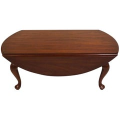 Henkel Harris Wild Cherry Drop-Leaf Handmade Queen Anne Coffee Table