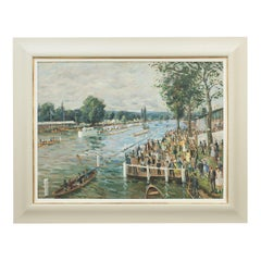 Henley Royal Regatta, Oil Painting on Board by John Alford