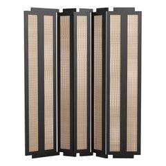 Henley Street Paravant by Yabu Pushelberg in Black Stained Oak and Woven Cane