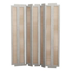 Henley Street Paravant by Yabu Pushelberg in Ivory Lacquered Oak and Woven Cane