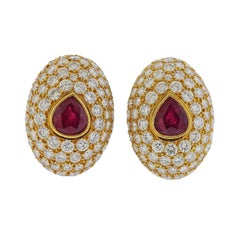 Hennell 15 Carat Diamond 6 Carat Ruby Gold Earrings