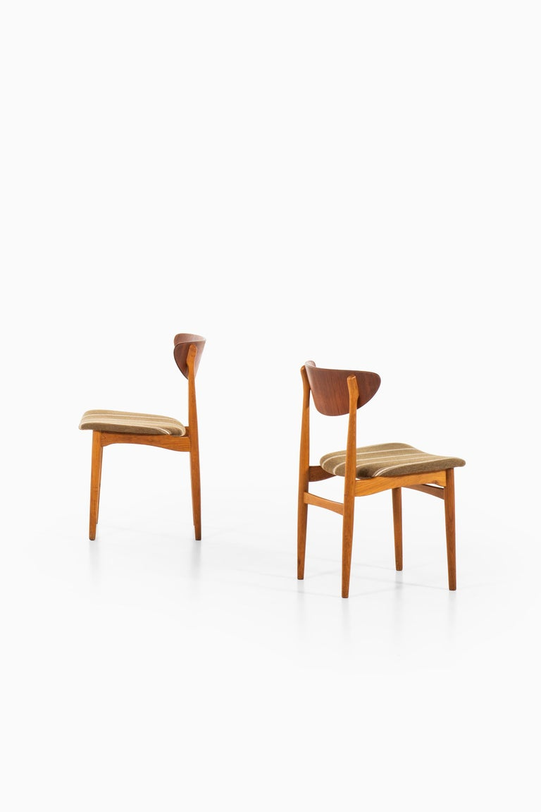 Wool Henning Kjærnulf Dining Chairs Produced by Sorø Stolefabrik in Denmark For Sale