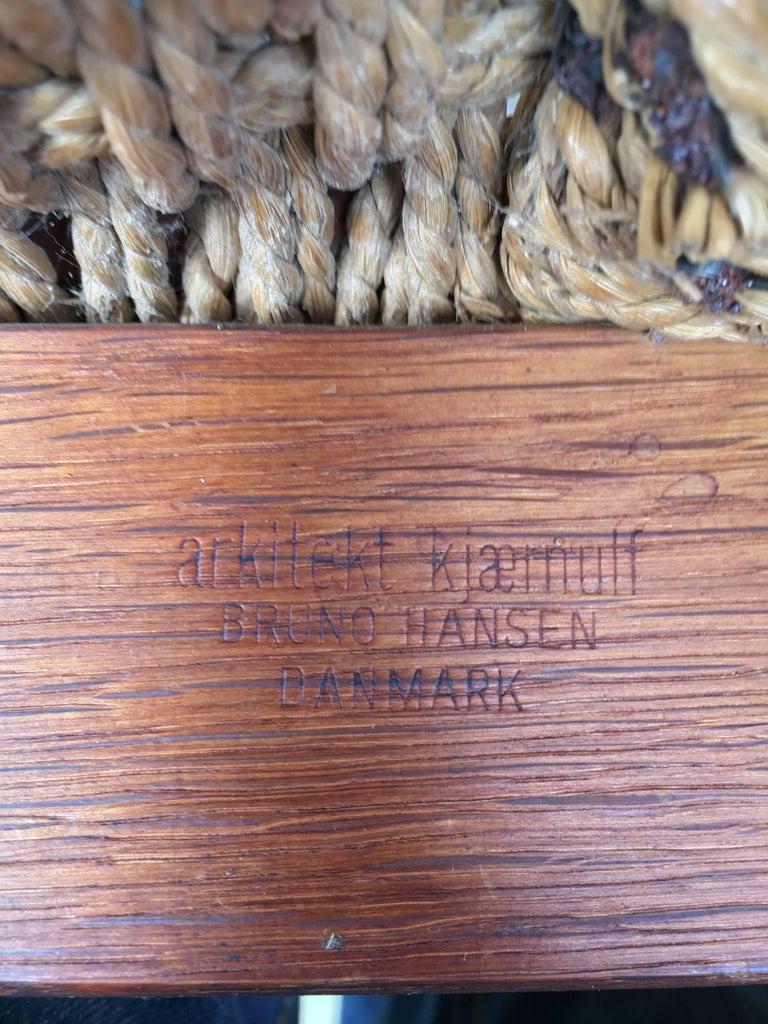 Papercord Henning Kjaernulf for Bruno Hansen Teak Chair For Sale