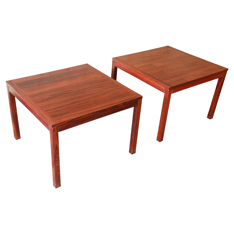 Henning Kjærnulf for Vejle Stole Danish Modern Rosewood Side Tables, a Pair