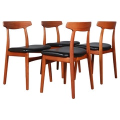 Henning Kjærnulf Four Teak Dining Chairs
