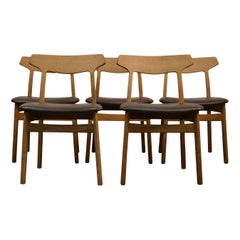Henning Kjaernulf Oak Dining Chairs, Set of Five