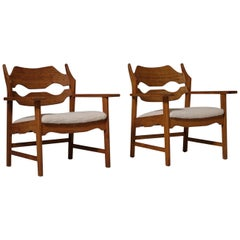 Henning Kjærnulf 'Razor Blade' Armchairs, Set of Two