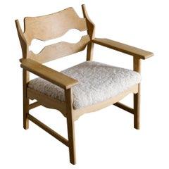 "Henning Kjaernulf ""Razor Blade"" Easy Chair in Oak and Sheepskin, 1960s"