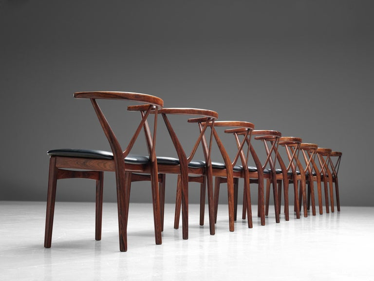 Scandinavian Modern Henning Kjaernulf Set of Dining Chairs Model '255' in Rosewood For Sale
