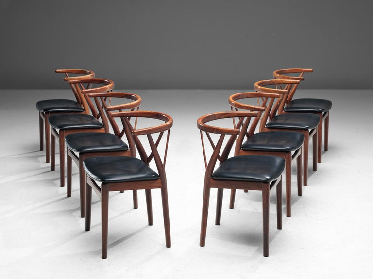 Danish Henning Kjaernulf Set of Dining Chairs Model '255' in Rosewood For Sale
