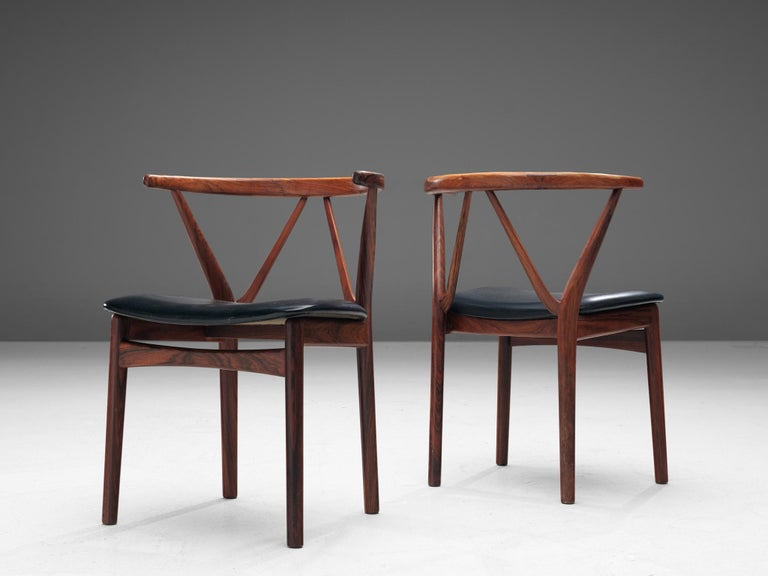 Mid-20th Century Henning Kjaernulf Set of Dining Chairs Model '255' in Rosewood For Sale