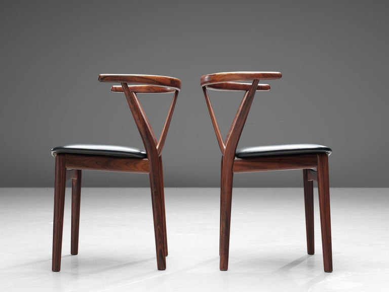 Henning Kjaernulf Set of Dining Chairs Model '255' in Rosewood For Sale 1