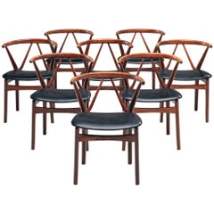 Henning Kjaernulf Set of Dining Chairs Model '255' in Rosewood