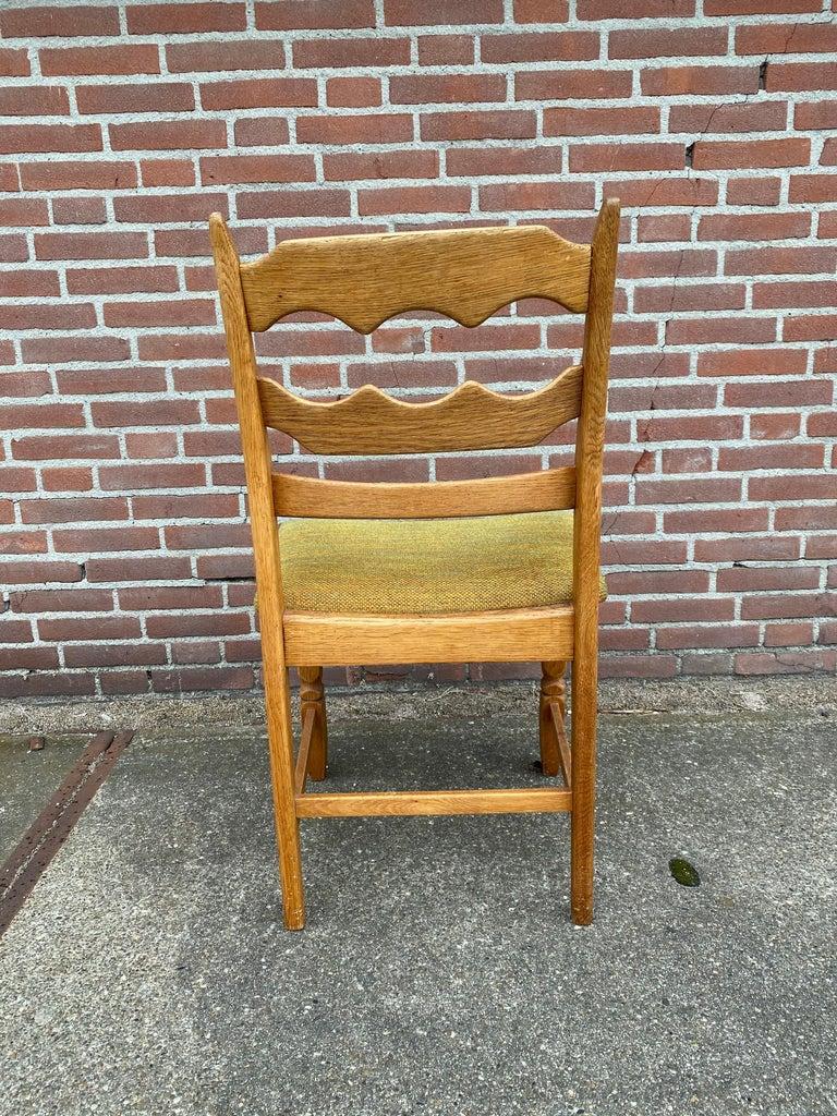 Oak Henning Kjaernulf, Set of Six 'Razorblade' Danish Dining Room Chairs For Sale