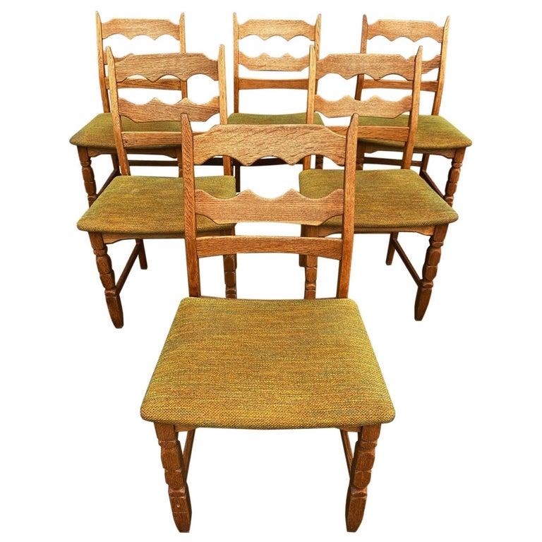 Henning Kjaernulf, Set of Six 'Razorblade' Danish Dining Room Chairs For Sale