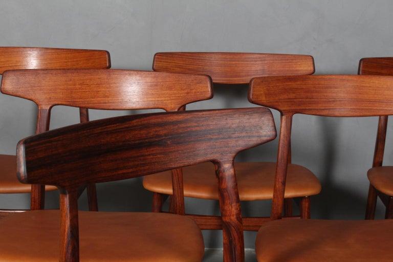 Scandinavian Modern Henning Kjærnulf Six Dining Chairs For Sale
