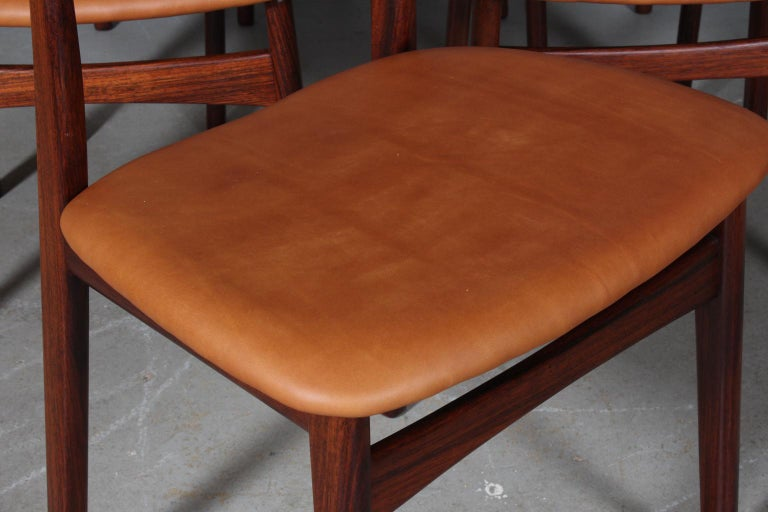 Henning Kjærnulf Six Dining Chairs In Good Condition For Sale In Esbjerg, DK