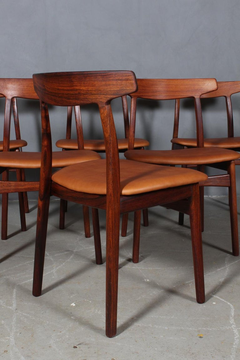 Late 20th Century Henning Kjærnulf Six Dining Chairs For Sale