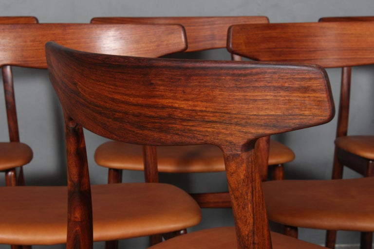 Leather Henning Kjærnulf Six Dining Chairs For Sale
