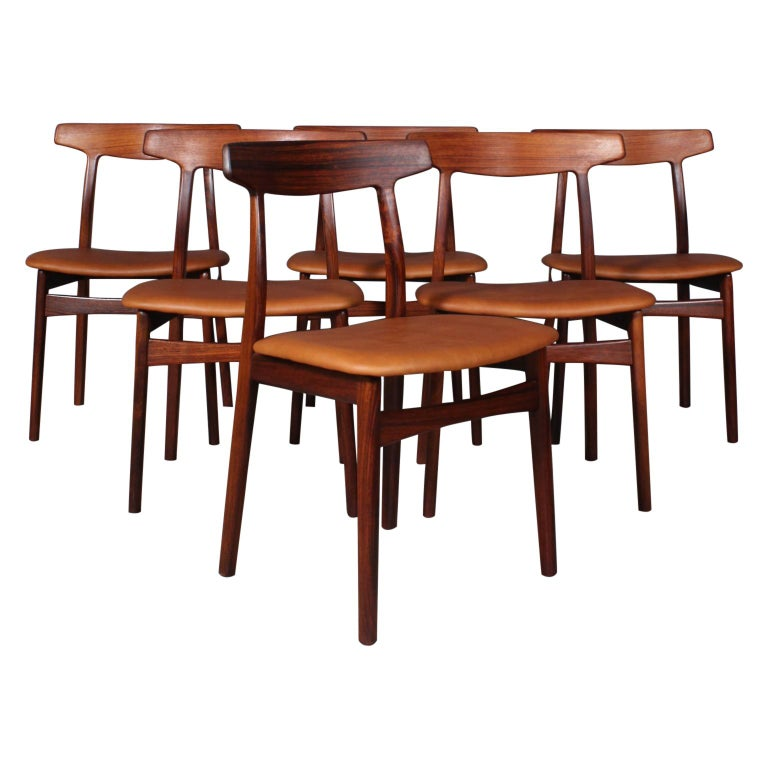 Henning Kjærnulf Six Dining Chairs For Sale