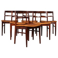 Henning Kjærnulf Six Rosewood Dining Chairs