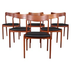 Henning Kjærnulf Six Teak Dining Chairs, Black Semi Aniline Leather, 1970s
