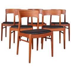 Henning Kjærnulf Six Teak Dining Chairs