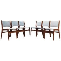 Henning Kjaernulf Teak Grey Chairs Vintage, 1960s