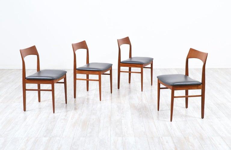 Mid-Century Modern Henning Kjærnulf Teak & Leather Dining Chairs for Vejle Møbler For Sale
