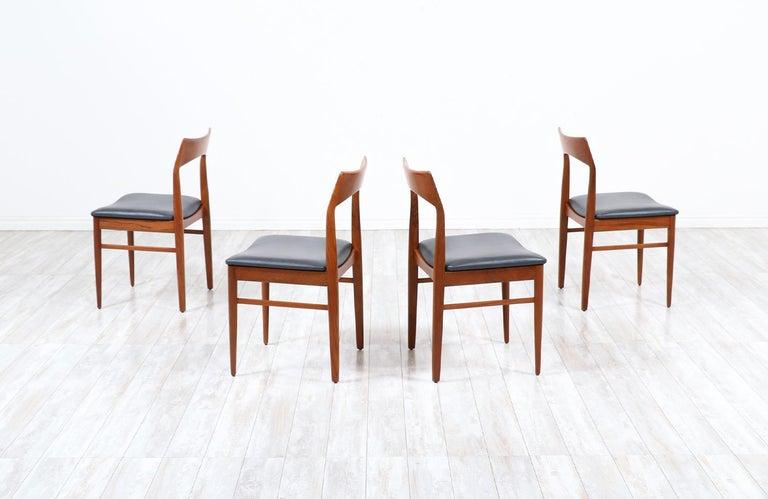 Danish Henning Kjærnulf Teak & Leather Dining Chairs for Vejle Møbler For Sale