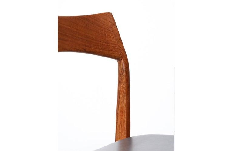Henning Kjærnulf Teak & Leather Dining Chairs for Vejle Møbler For Sale 1