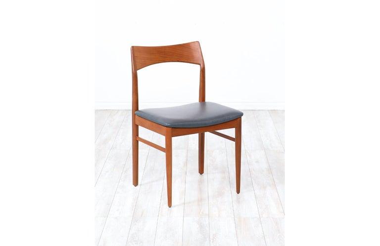 Henning Kjærnulf Teak & Leather Dining Chairs for Vejle Møbler For Sale 2
