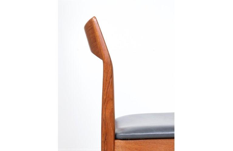 Henning Kjærnulf Teak & Leather Dining Chairs for Vejle Møbler For Sale 3