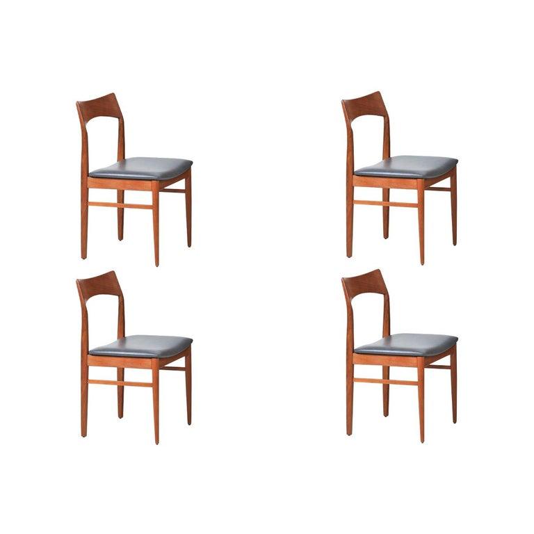 Henning Kjærnulf Teak & Leather Dining Chairs for Vejle Møbler For Sale